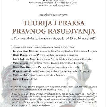 Kurs Teorija i praksa pravnog rasuđivanja