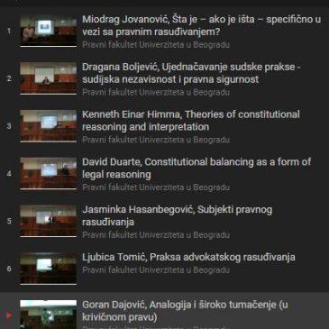 Video zapisi sa kursa Teorija i praksa pravnog rasuđivanja