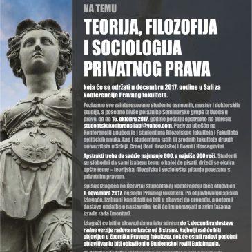 Poziv za učešće na četvrtoj Studentskoj konferenciji iz teorije, filozofije i sociologije prava