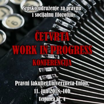Četvrta Work in Progress konferencija Srpskog udruženja za pravnu i socijalnu filozofiju