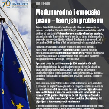 Poziv za učešće na petoj Studentskoj konferenciji iz teorije i filozofije prava na temu Međunarodno i evropsko pravo – teorijski problemi