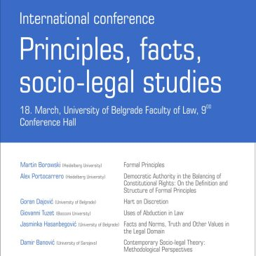 International conference – Principles, facts, socio-legal studies