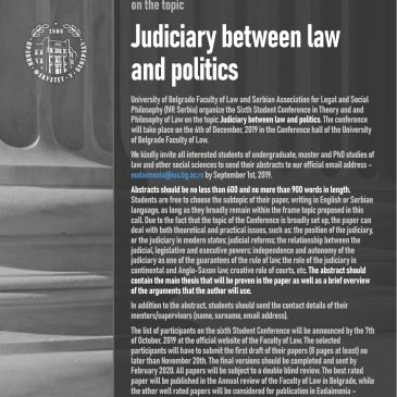 Call for Abstracts for the Sixth Student Conference in Theory and Philosophy of Law on the topic Judiciary between law and politics