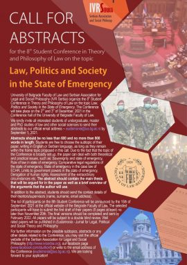 """Student conference """"Law, Politics, and Society in the State of Emergency"""" CfA"""