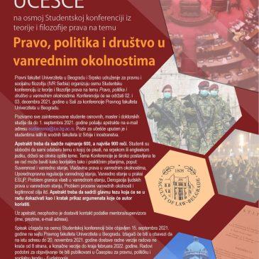 """Studentska konferencija """"Pravo, politika i društvo u vanrednim okolnostima"""" PzU"""
